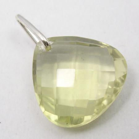Pandantiv Argint 925 cu Cuart Lemon 2.1 cm lungime