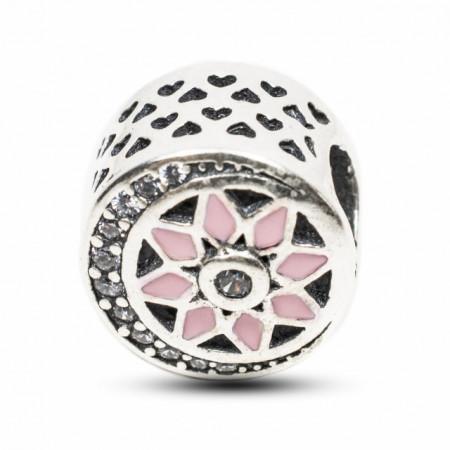 Talisman Argint 925 rodiat Semiluna din zirconiu si floare roz