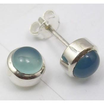 925 Silver Chalcedony Earrings 0.8CM