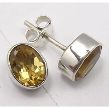 Cercei Argint 925 cu Citrin, 0.9 cm lungime