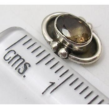 Cercei Argint 925 cu Cuart Fumuriu, 1 cm lungime