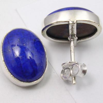 Cercei Argint 925 cu Lapis Lazuli, 1.5 cm lungime