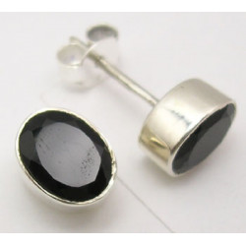 Cercei Argint 925 cu Onix Negru, 0.9 cm lungime