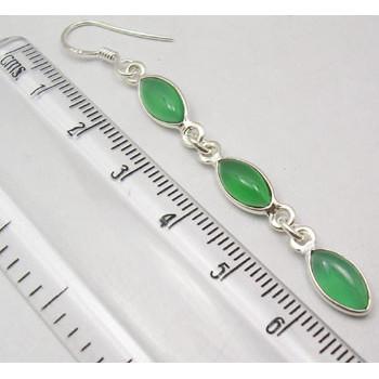 Cercei Argint 925 cu Onix Verde, 6.6 cm lungime
