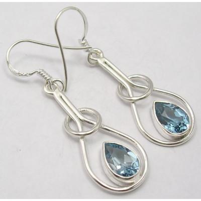 Cercei Argint cu Topaz Albastru (4.5 cm)