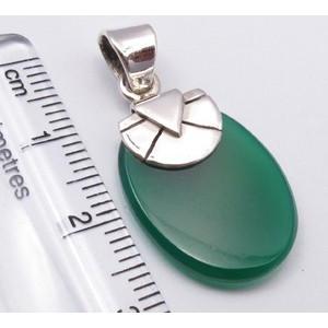Pandantiv Argint 925 cu Onix Verde 3.1 cm lungime