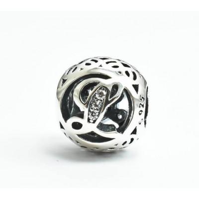 Talisman Argint 925 rodiat cu litera L si zirconiu- Simulated Diamond