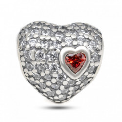 Talisman Argint 925 rodiat Inima cu zirconiu colorat