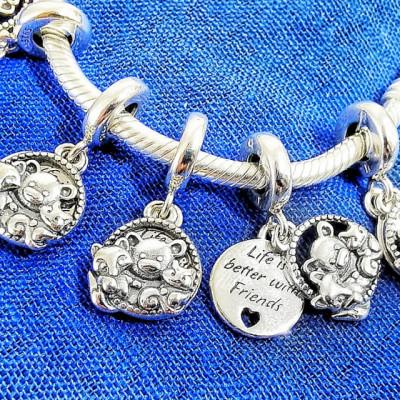 Talisman Argint 925 rodiat Life is better with friends Simulated Diamond