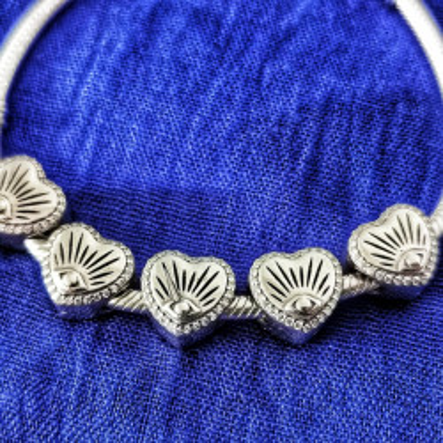 Talisman Argint 925 rodiat Scoica in forma de inima Simulated Diamond