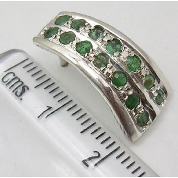 Cercei Argint 925 cu Emerald, 2.2 cm lungime