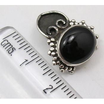Cercei Argint 925 cu Onix Negru,1.8 cm lungime