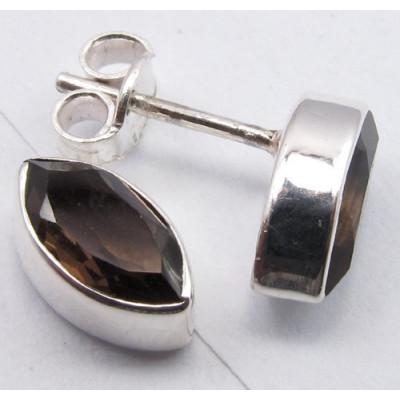 Cercei Argint cu Cuart Fumuriu (1,1 cm)