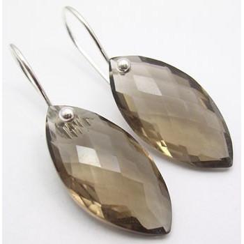 Cercei Argint cu Cuart Fumuriu (3,2 cm)