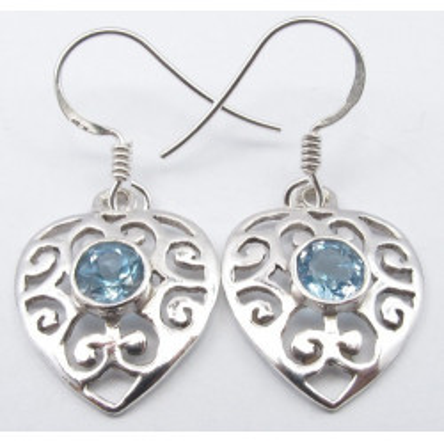 Cercei Argint cu Topaz Albastru (3,2 cm)