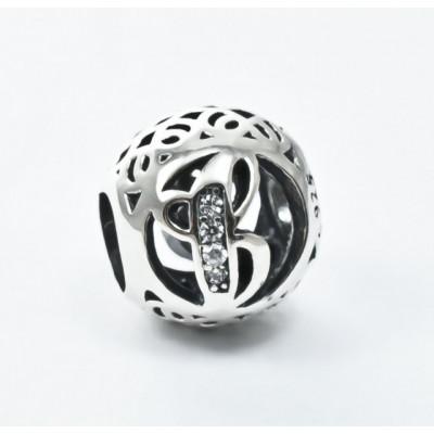 Talisman Argint 925 rodiat cu litera J si zirconiu- Simulated Diamond