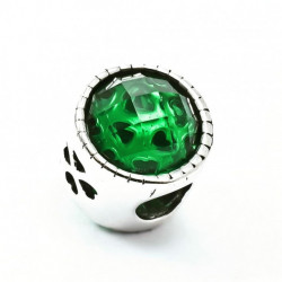 Talisman Argint 925 rodiat Cu piatra verde si trifoi - Simulated Diamond