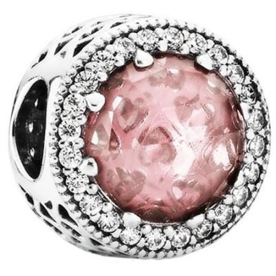 Talisman Argint 925 rodiat Pink& White Simulated Diamond
