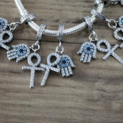 Talisman Argint 925 rodiatMana Fatimei cu cruciulita Simulated Diamond