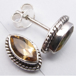 925 Silver Citrine Earrings 1.1CM