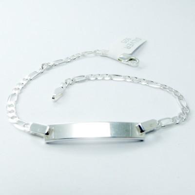 Bratara Figaro Argint 925, rodiat, cu placuta, lungime 18 cm