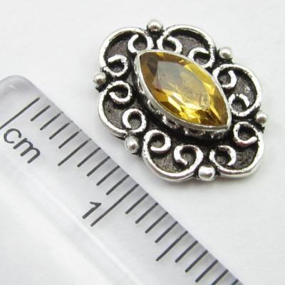 Cercei Argint 925 cu Citrin 1.5 cm lungime