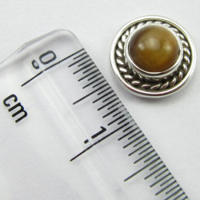 Cercei Argint 925 cu Ochi de Tigru 1 cm lungime
