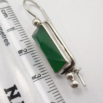 Cercei Argint 925 cu Onix Verde, 3.9 cm lungime