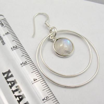 Cercei Argint 925 cu Piatra Lunii , 4,8 cm lungime