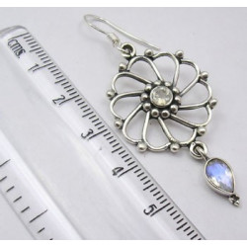 Cercei Argint 925 cu Piatra Lunii 5.6 cm lungime