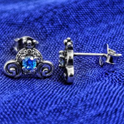 Cercei Argint 925 rodiat Coronita cu zirconii albe si albastre