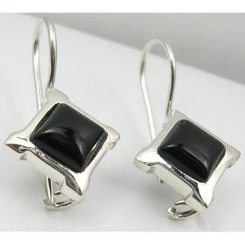 Cercei Argint cu Onix Negru (2,5 cm)