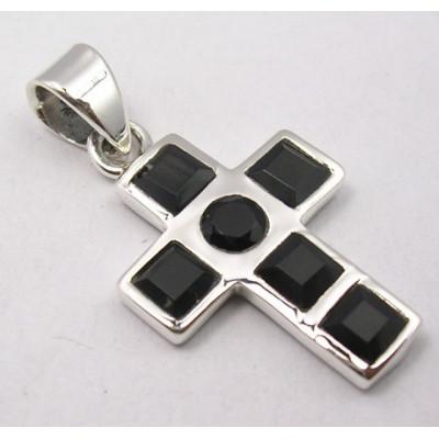 Pandantiv din Argint cu Onix Negru 4,1 cm
