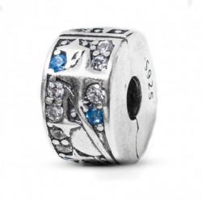 Talisman Argint 925 rodiat Clips Zirconiu Albastru si Alb