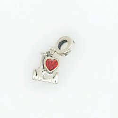Talisman Argint 925 rodiat I love mom cu Zirconiu