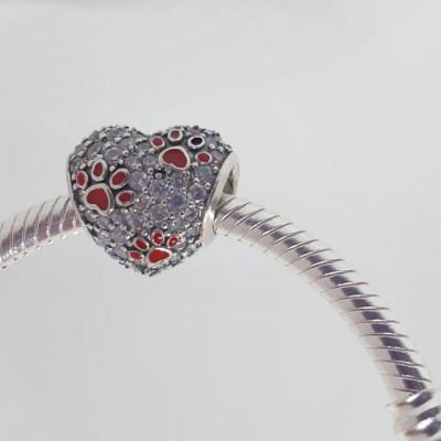 Talisman Argint 925 rodiat Inima cu amprente catel Simulated Diamond