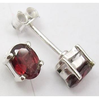 925 Silver Garnet Earrings 0.7CM