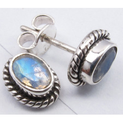 925 Silver Rainbow Moonstone Earrings 0.9CM