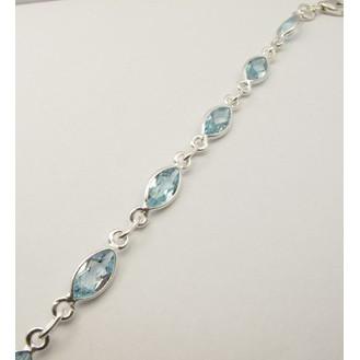 Bratara Argint 925 cu Topaz Albastru 20.1 cm lungime