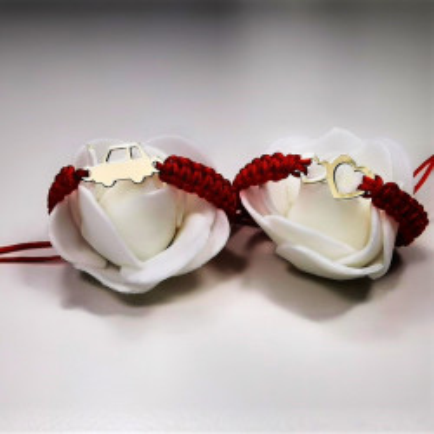 Bratara snur cu inimioare 11x18mm - Aur 14k (prindere reglabila nou-nascut - adulti)