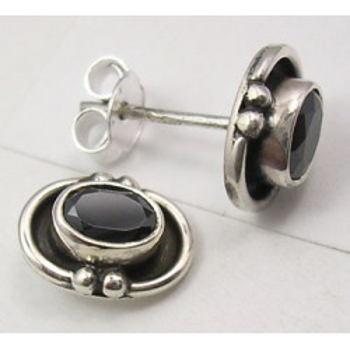 Cercei Argint 925 cu Onix Negru, 1 cm lungime