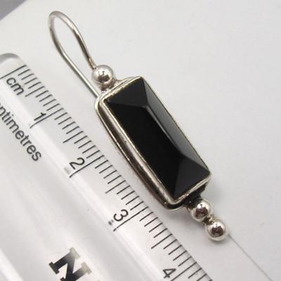 Cercei Argint 925 cu Onix Negru, 3.9 cm lungime