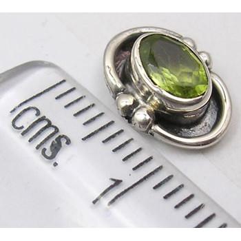 Cercei Argint 925 cu Peridot, 1 cm lungime