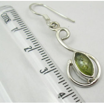 Cercei Argint 925 cu Peridot, 4.0 cm lungime