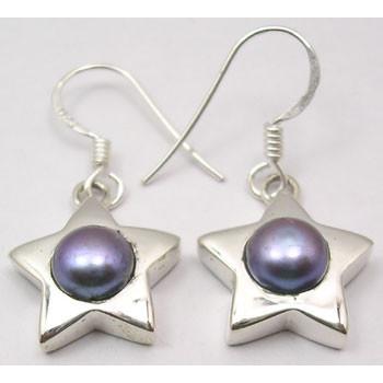 Cercei Argint 925 Cu Perla Gri , 3 cm lungime