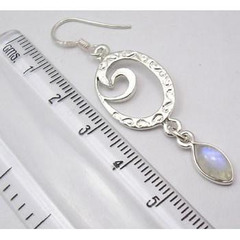 Cercei Argint 925 cu Piatra Lunii, 5.3 cm lungime