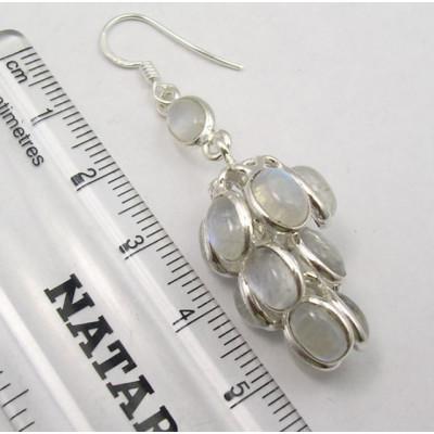 Cercei Argint 925 cu Piatra Lunii, 5.7 cm lungime