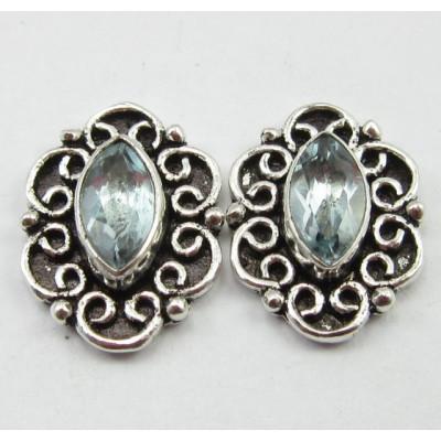 Cercei Argint 925 cu Topaz Albastru 1.5 cm lungime