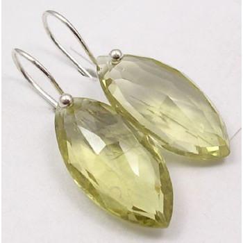 Cercei Argint cu Cuart Lemon (3,2 cm)