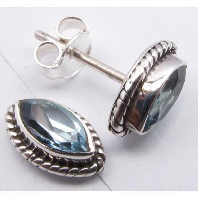 Cercei Argint cu Topaz Albastru (1,1 cm)